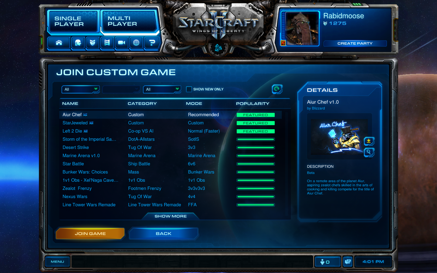 AI joins a custom StarCraft 2 game